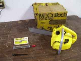 Vintage Mini Mac McCulloch Chainsaw with original Box, Manual, almost