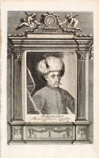 1721 Copper Engraving Portrait Mehmed III Adli Sultan Ottoman Empire