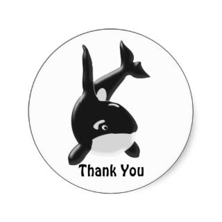 Killer Whale Thank You Round Stickers