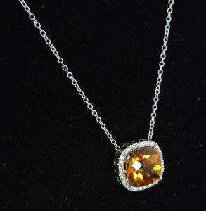 IDI Meira T 14k Gold Orange Citrine Diamond Necklace