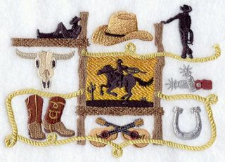 Cowboy Rodeo Medley Western 2 Embroidered Hand Towels by Susan