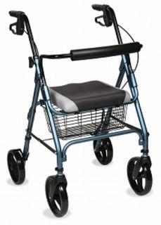Medline MDS86826W ea Comfort Glide Rollator Rolling Walker w Basket