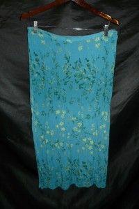 Norton McNaughton XL Blue Green Khaki Floral Long Broomstick Skirt