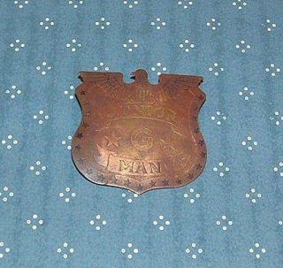 Vintage Junior G Man Badge Premium Good Condition