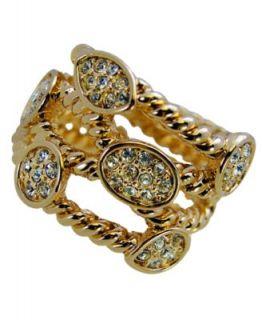 Tahari Ring, Gold Tone Bezel Set Crystal Twist Ring