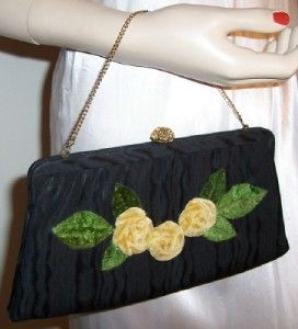 Vtg 50s HL Black w Yellow Velvet Flowers Clutch Purse
