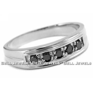 Mens Mans Black Diamond Wedding Ring 14k White Gold Gents Band