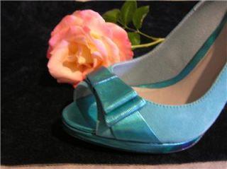 New Menbur Suede Leather Agua Blue Open Pump Shoes 6 5