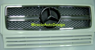 WHITE (#650) FRONT GRILLE SET FOR 1990 2013 MERCEDES BENZ W463 G CLASS