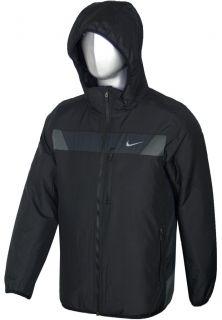New Mens Nike Intensity Black Full Zip Detachable Hooded Top Jacket