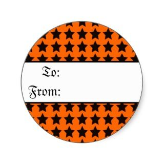 Halloween Black and Orange Stars Gift Tag Sticker