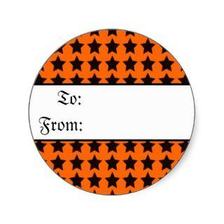 Halloween Black and Orange Stars Gift Tag Sticker