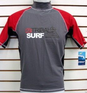 Mens SPF 50 Surf Shirt Rash Guard Short Sleeve Small thru 3XL RGM3T