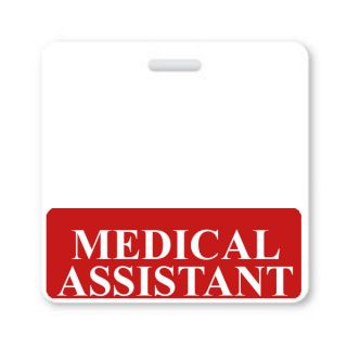 Medical Assistant Horizontal ID Badge Buddy with Red Border BB