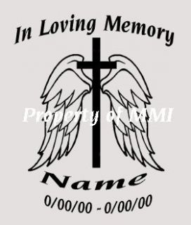 MEMORY #2 Angel Wings Cross Vinyl DECAL Car Truck Window Memorial
