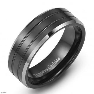 mens black tungsten carbide ring wedding band