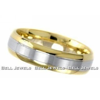 Fine Mens Wedding Band Man Ring 14k White Yellow Gold