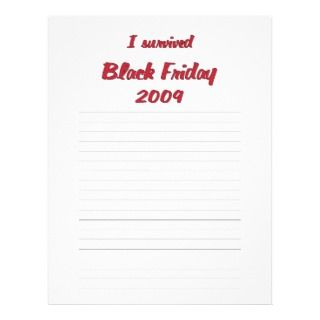 survivied Black Friday 2009 shopping Custom Letterhead