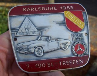 MERCEDES BENZ 190 SL CLUB GERMANY MEETING 1985 Badge KARLSRUHE   Rare
