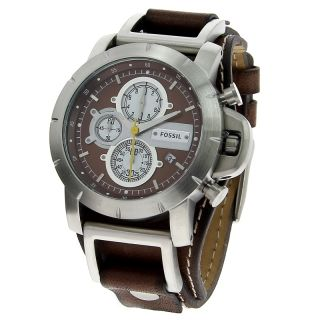 Brown Leather Band Chronograph Wide Cuff Mens Watch JR1157