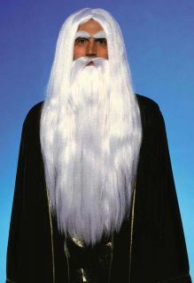 Long Merlin The Magician Wig and Beard Wizard Old Man Costume White