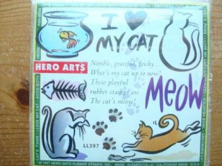 New I Love My Cat Set of 9 by Hero Arts Rubber Stamp