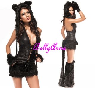 Sexy Ladies Cute Lovely Black Cat Kitten Fox Fancy Dress Adult