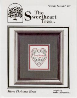 Merry Christmas Heart XS Chart w Silver Charm Mill Hill Beads