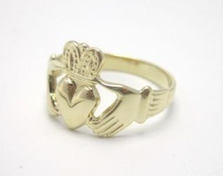 10K YG Unisex Mens Ladies Claddagh Ring Irish Celtic