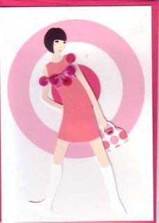 Meri Meri Pink Greeting Cards Embellished Handmade GoGo Boots 1960s