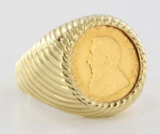 Vintage 14k Gold Mens 1 10oz 1984 Krugerrand Coin Bullion Ring Jewelry
