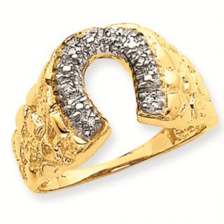 14k Gold AA Diamond Mens Nugget Horseshoe Ring