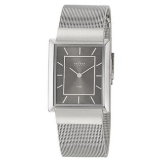 Rectangle Stainless Steel Grey Dial Mesh Mens Watch O224LSSM