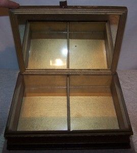 Vtg Beautiful Silhouette Mirrored Wooden Keepsake Box