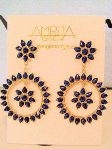 Beautiful Amrita Singh Designer Gold Tone Fashion Blue Lapis Resin