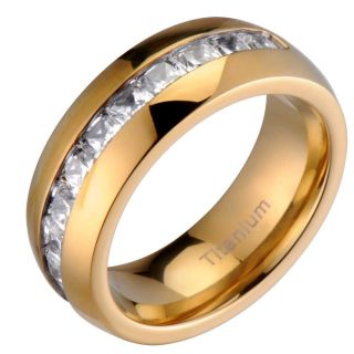 CZ Band Dome Shiny Top Gold Plated Mens Wedding Ring Sz 12 5