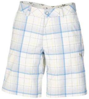 Mens Puma Plaid Bermuda Golf Shorts Blue White