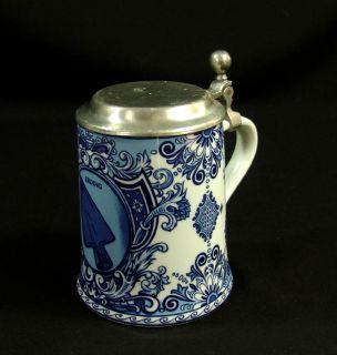 Old German Merkle Porcelain Beer Stein Tankard Mug Lid