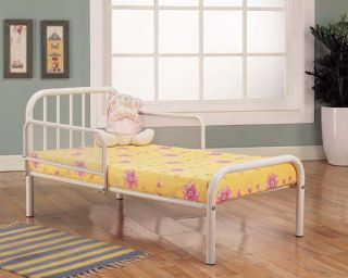 White Finish Metal Toddler Bed Frame with Rails New