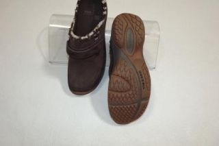 MERRELL womens BROWN Leather w/ knitted Trim QForm Air Cushioned Soles