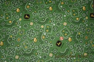 Fabric Shower Curtain Sewn from John Deere Green Paisley Cotton Print