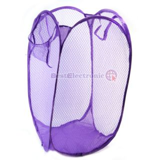 Pop Up Folding Mesh Hamper Laundry Basket Bag New