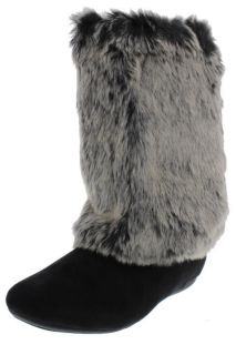 Report New Meloni Black Faux Fur Fold Over Casual Mid Calf Boots Shoes