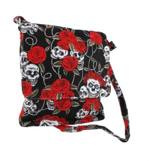 Skulls and Roses Print Nylon Crossbody Messenger Bag Adjustable