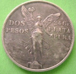 1921 Mexican Silver Coin 2 Pesos Winged Victory Angel de La