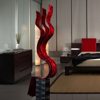 Abstract Red Painted Metal Art Sculpture Red Transitions