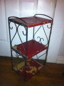 Iron Metal Mid Century Patio Garden Shelf Plantstand Retro Plant Stand