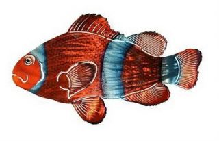 Red Clown Fish Metal Wall Art Tropical Sea Beach Decor