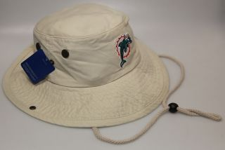 Miami Dolphins Beige Fishing Bucket Hat w/ Embroidered Logo by Reebok