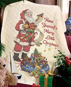 Stamped Cross Stitch Kit Merry Little Christmas Quilt